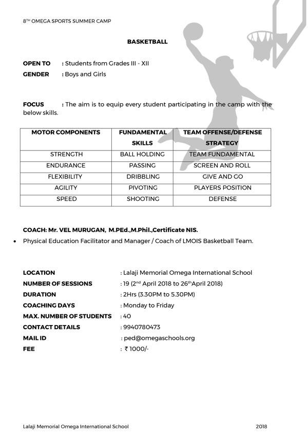 8TH OMEGA SPORTS SUMMER CAMP Basket ball