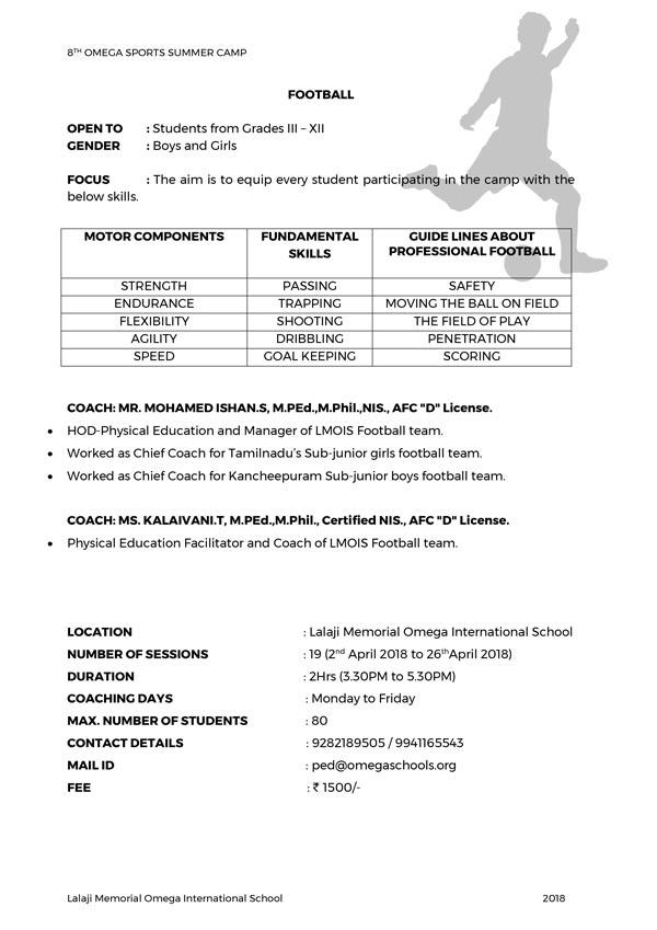 8TH OMEGA SPORTS SUMMER CAMP Football