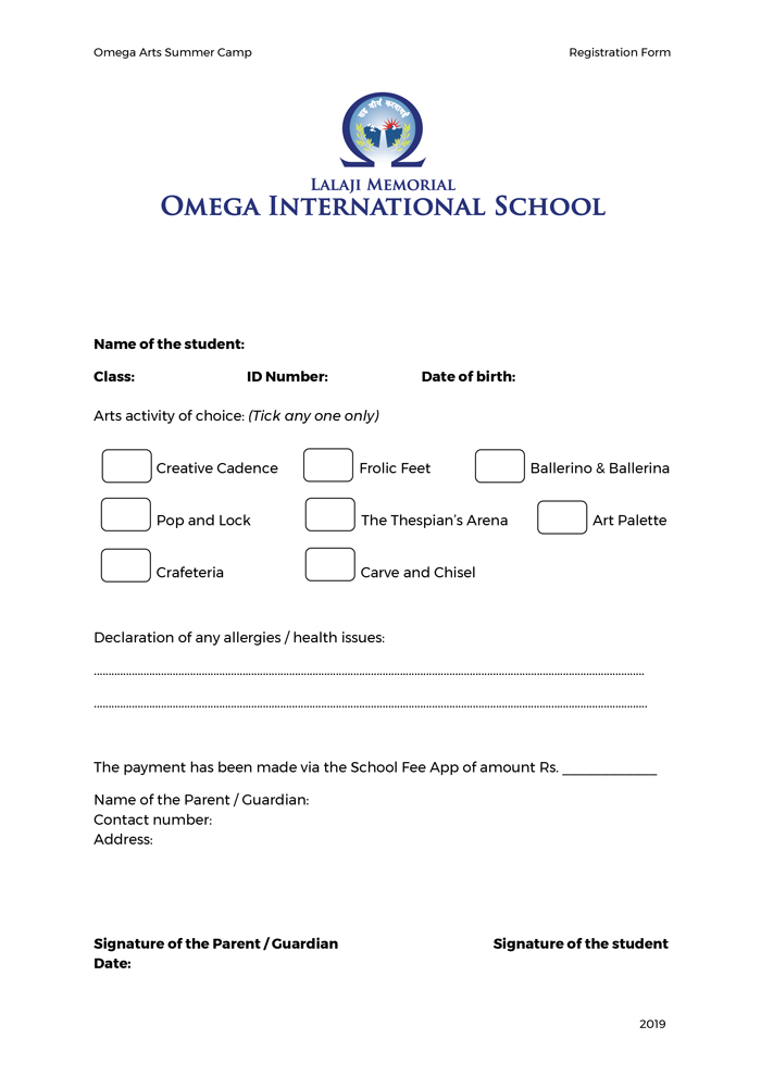 Arts Registration Form